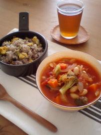 野菜スープとゴーヤごはん.jpg